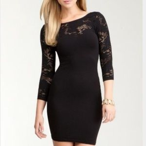 Bebe | Black Bodycon Dress with Crochet